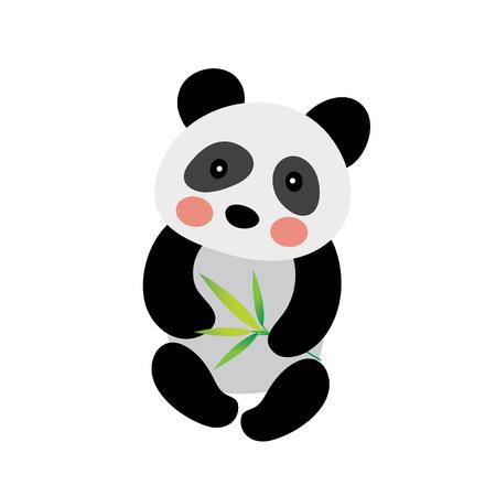 Sitting Chinese Panda bear animal cartoon character. Isolated on white background. illustration.