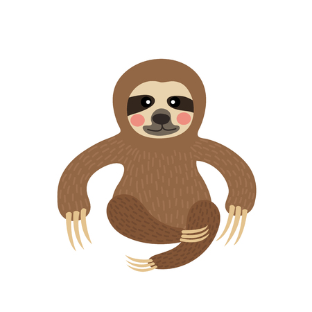Three-toed sitting Sloth animal cartoon character. Isolated on white background. illustration.