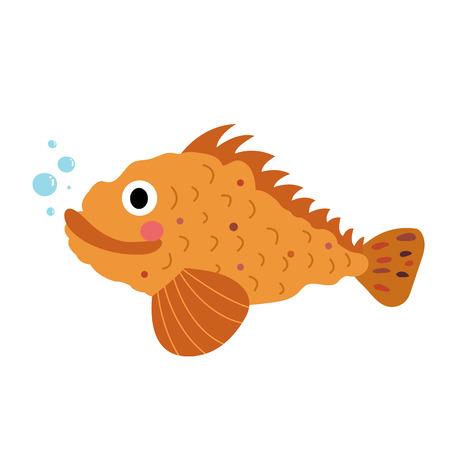 Scorpion Fish animal cartoon character. Isolated on white background. illustration.
