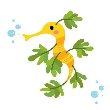 Seahorse animal cartoon character. Isolated on white background. illustration.