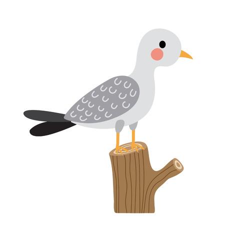 Seagull bird perching branch animal cartoon character. Isolated on white background. illustration. Illustration