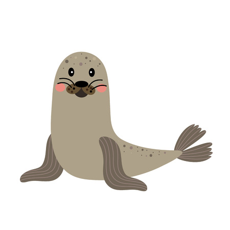 Seal animal cartoon character. Isolated on white background. illustration.