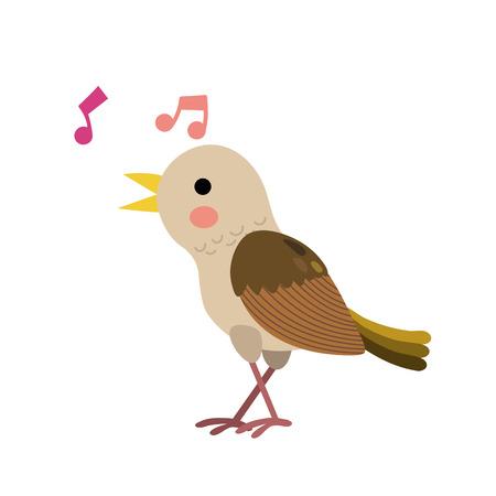 Singing Nightingale bird animal cartoon character. Isolated on white background. illustration.