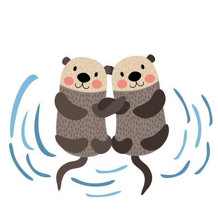 Otter couple holding hands animal cartoon character. Isolated on white background. illustration.  イラスト・ベクター素材