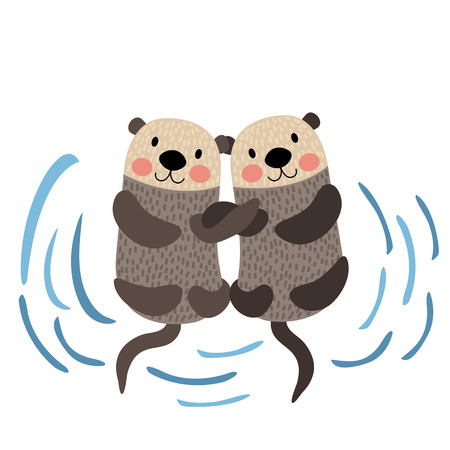 Otter couple holding hands animal cartoon character. Isolated on white background. illustration. Иллюстрация
