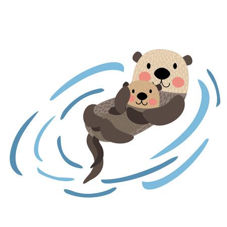 Otter mère et personnage de dessin animé animal enfant. Isolé sur fond blanc. illustration. Vecteurs