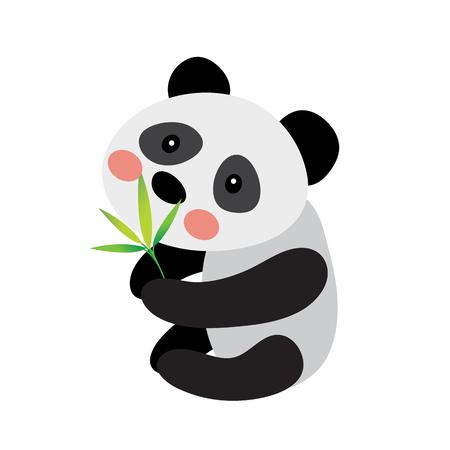 Panda bear with bamboo leaves animal cartoon character. Isolated on white background. illustration. Illustration