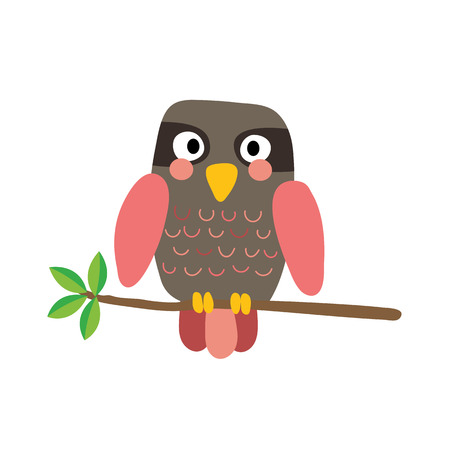 Pink Owl bird perched on the branch with leaves animal cartoon character. Isolated on white background. illustration. Illustration