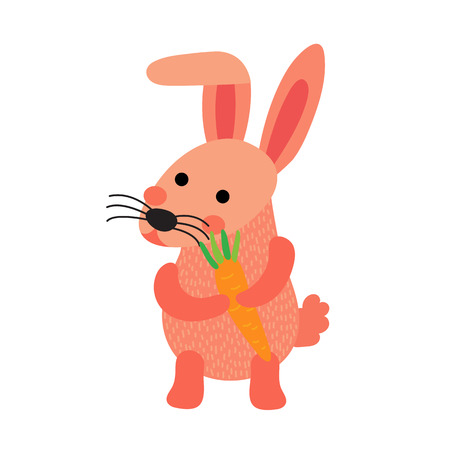 leporidae: Pink Rabbit holding carrot animal cartoon character. Isolated on white background. illustration. Illustration