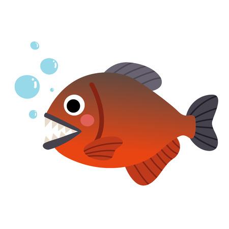 Piranha fish animal cartoon character. Isolated on white background. illustration.