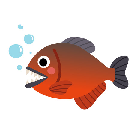 omnivorous: Piranha fish animal cartoon character. Isolated on white background. illustration.