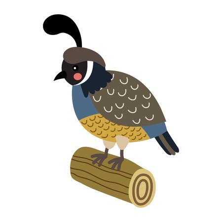 木材のログの動物漫画のキャラクターに止まった鶉鳥。白い背景上に分離。イラスト。