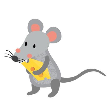 Rat holding cheese animal cartoon character. Isolated on white background. illustration.