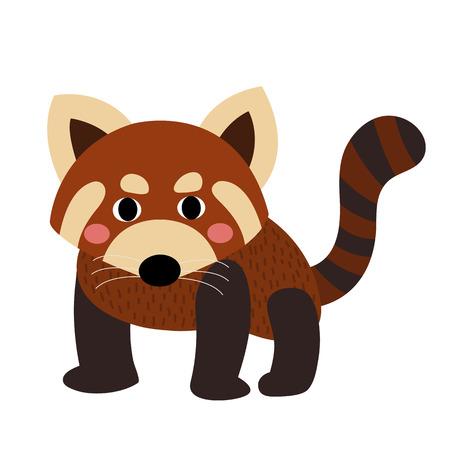 Panda rojo personaje de dibujos animados de los animales. Aislado en el fondo blanco. ilustración.