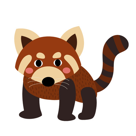 Red Panda animal cartoon character. Isolated on white background. illustration.