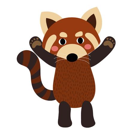 Panda rojo de pie y levantando las dos manos personaje de dibujos animados de los animales. Aislado en el fondo blanco. ilustración.