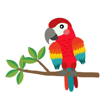 Red Parrot bird perching on the branch animal cartoon character. Isolated on white background. illustration.