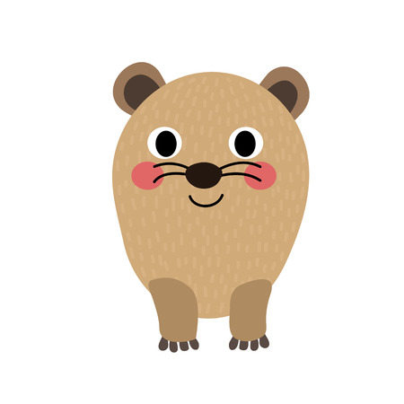 guinea pig: Rock Hyrax animal cartoon character. Isolated on white background. illustration.