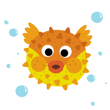 pufferfish: Orange Pufferfish animal cartoon character. Isolated on white background. illustration.