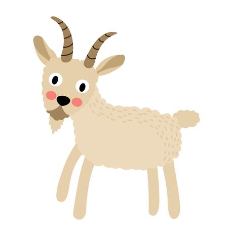 capra: Standing Goat animal cartoon character. Isolated on white background. illustration. Illustration