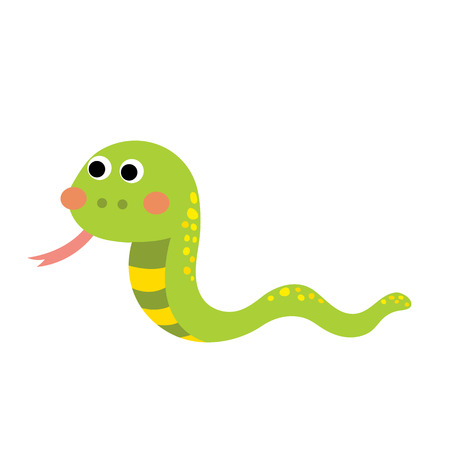 Green Snake animal cartoon character. Isolated on white background. illustration. Illustration