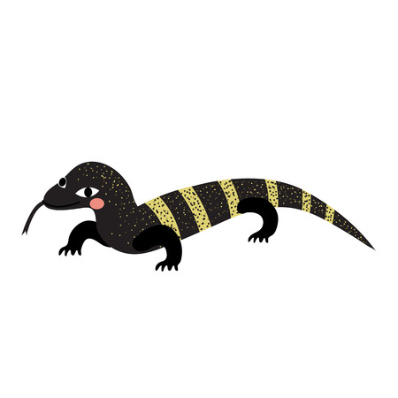 Crawling Monitor lizard animal cartoon character. Isolated on white background. illustration.
