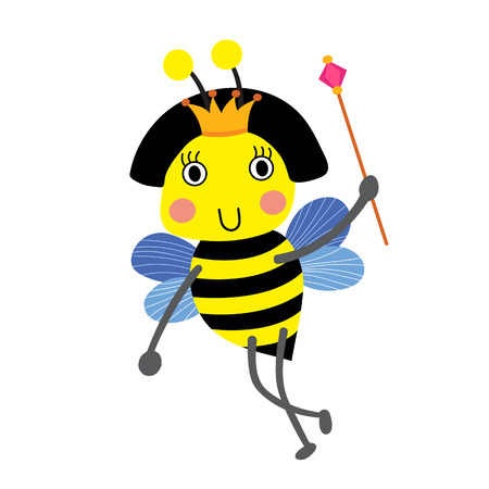 scepter: Happy Queen Bee holding scepter animal cartoon character. Isolated on white background. illustration.