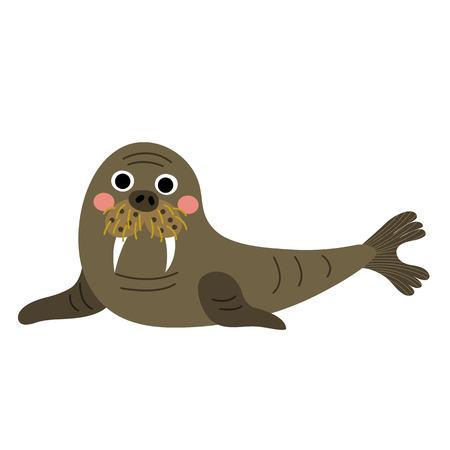 Happy Walrus animal cartoon character. Isolated on white background. illustration. Illustration