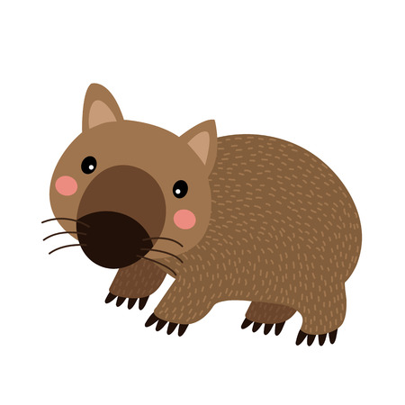 queensland: Happy Wombat animal cartoon character. Isolated on white background. illustration.