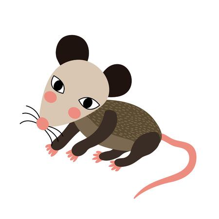 Opossum animal cartoon character. Isolated on white background. illustration. 矢量图像