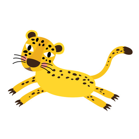Jumping Cheetah animal cartoon character. Isolated on white background. illustration.