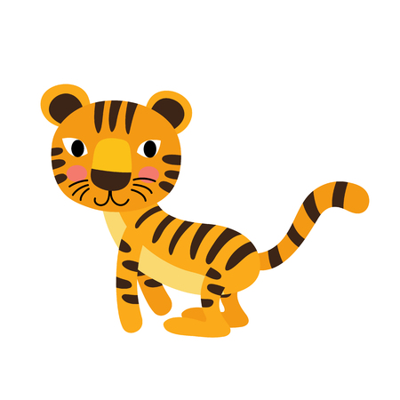 tigress: Jumping Tiger animal cartoon character. Isolated on white background. illustration.