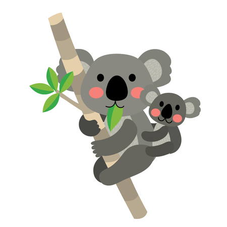 Koala bear and baby koala climbing tree animal cartoon character. Isolated on white background. illustration.