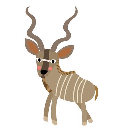 Kudu animal cartoon character. Isolated on white background. illustration. Illustration