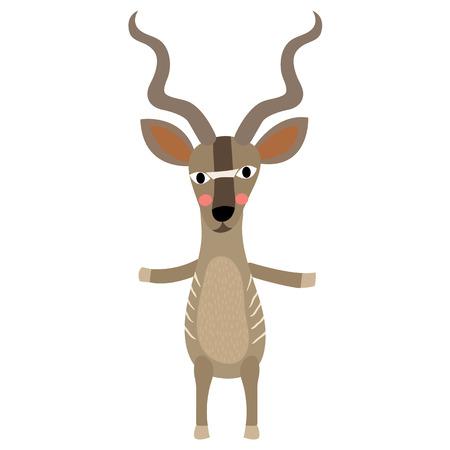Kudu standing on two legs animal cartoon character. Isolated on white background. illustration. Illustration