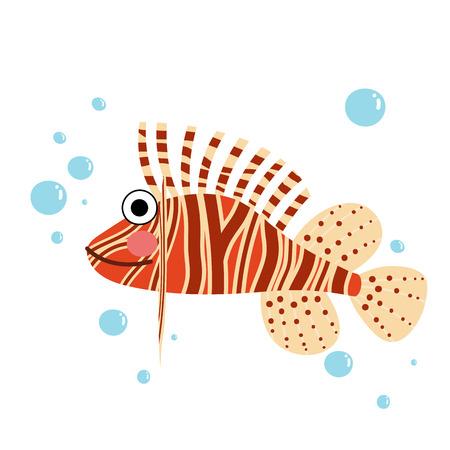 fishtank: Lionfish side view animal cartoon character. Isolated on white background. illustration. Illustration