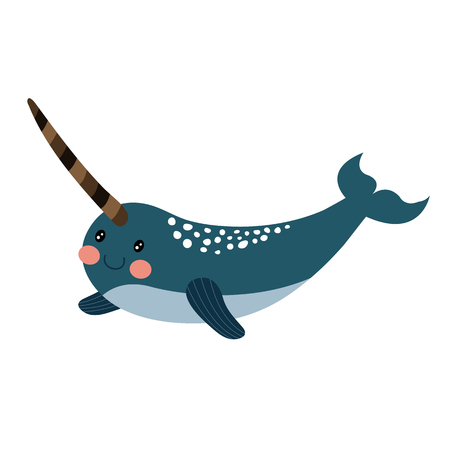 toothed: Long tusk Narwhal animal cartoon character. Isolated on white background. illustration. Illustration