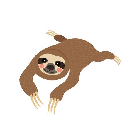 Three-toed lying Sloth animal cartoon character. Isolated on white background. illustration.