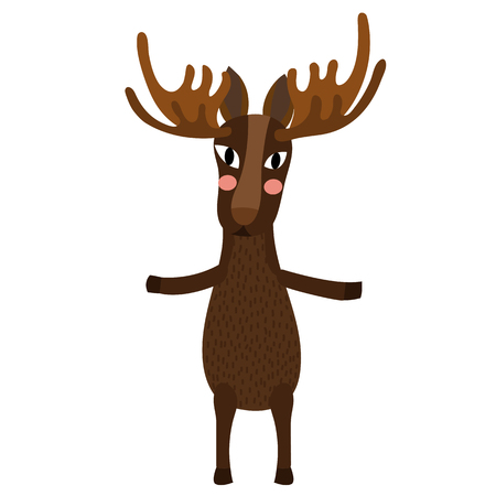 Moose standing on two legs animal cartoon character. Isolated on white background. illustration.