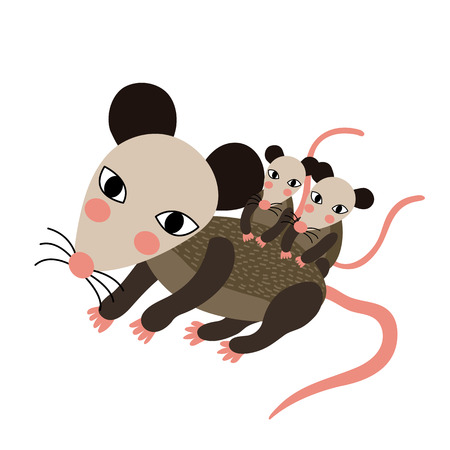 possum: Mother and baby Opossum animal cartoon character. Isolated on white background. illustration.