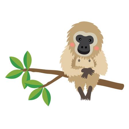 Gibbon animal cartoon character. Isolated on white background. illustration. Illustration