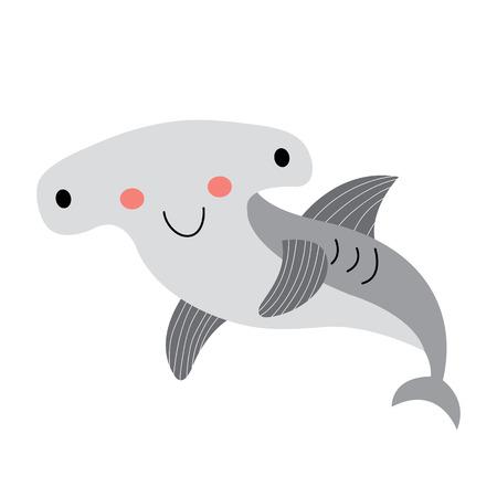 Happy Hammerhead Shark animal cartoon character. Isolated on white background. illustration.