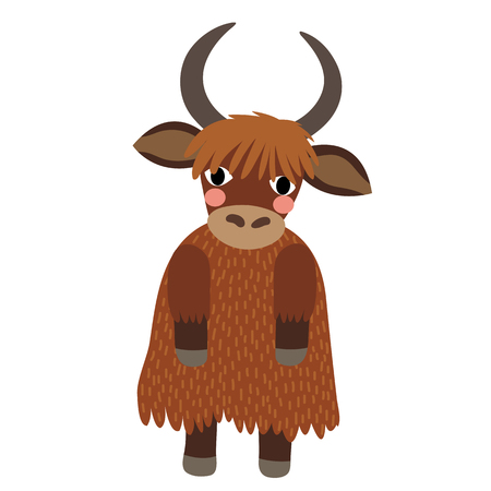 bovid: Yak standing on two legs animal cartoon character. Isolated on white background. illustration.