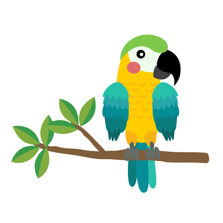 Yellow and blue Parrot bird perching on the branch animal cartoon character. Isolated on white background. illustration.