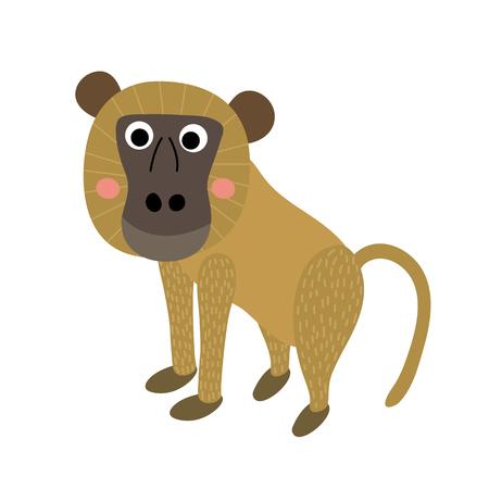 zimbabwe: Mono del babuino personaje de dibujos animados de color amarillo animal. Aislado en el fondo blanco. ilustración.