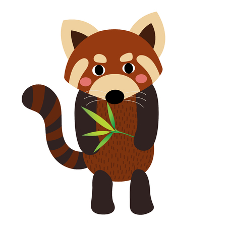 Standing Red Panda with bamboo animal cartoon character. Isolated on white background. illustration.