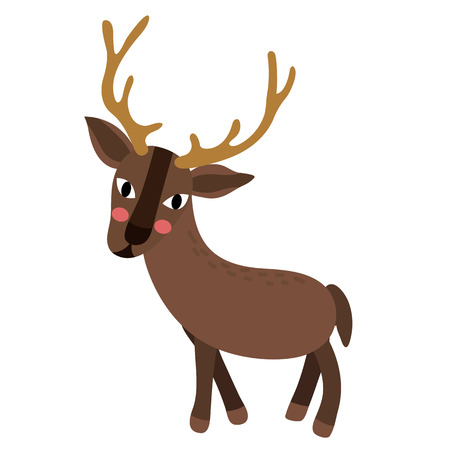 Standing Reindeer animal cartoon character. Isolated on white background. illustration.
