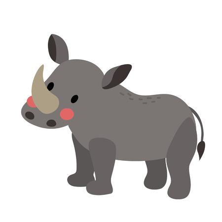 立っているサイの動物漫画のキャラクター。白い背景上に分離。イラスト。