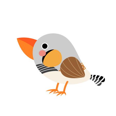 Zebra Finch bird animal cartoon character. Isolated on white background. illustration.