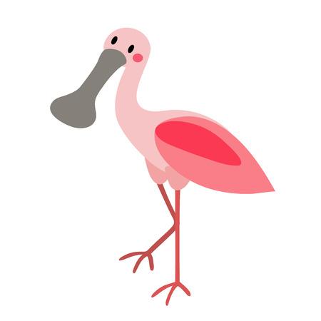 Coiffeuse Roseate Spoonbill personnage de dessin animé d'oiseaux. Isolé sur fond blanc. illustration.